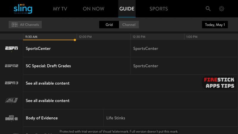 Sling TV channels guide