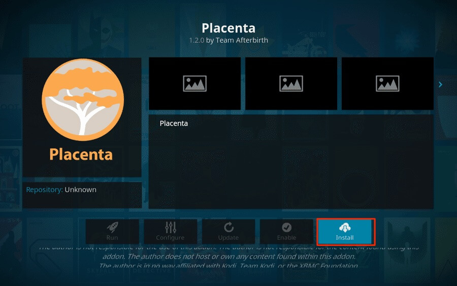 Install Placenta Kodi Addon