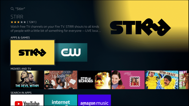 Stirr on Firestick Amazon App Store