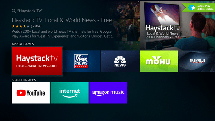 Haystack TV on Firestick