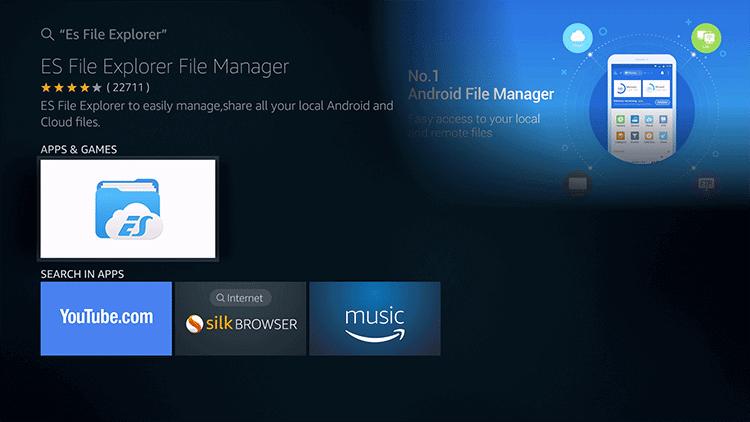 Select ES File Explorer for Firestick