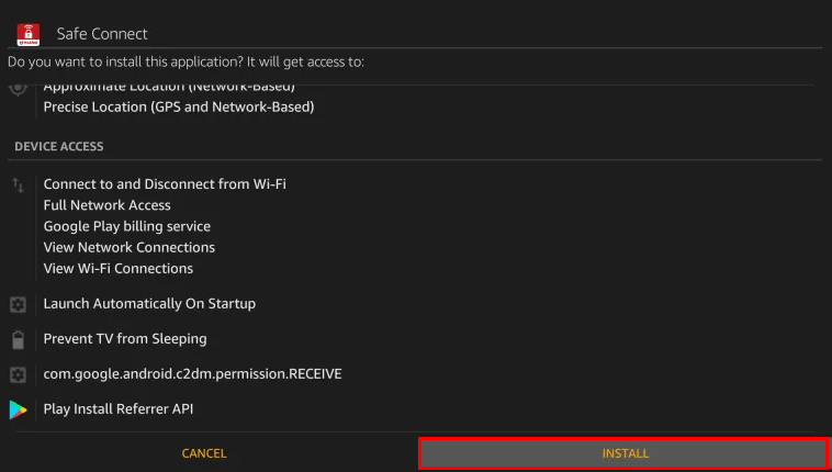 Select Install to install McAfee VPN for Firestick