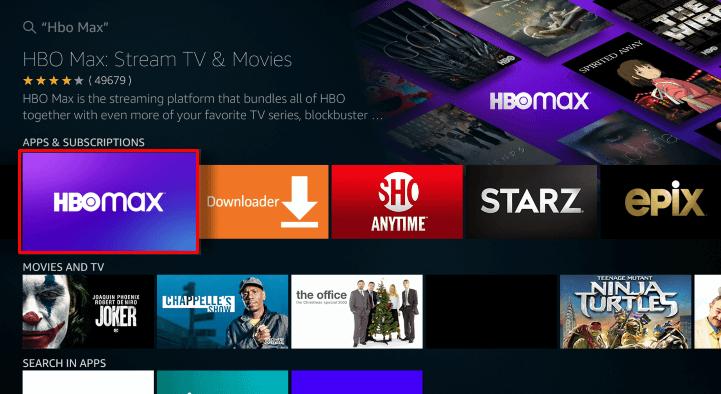 Choose HBO Max on Firestick