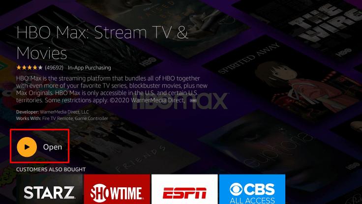 Open HBO Max on Firestick