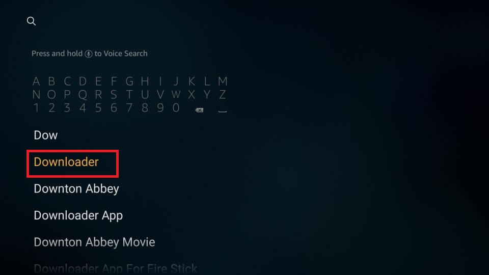 Search for Downloader app