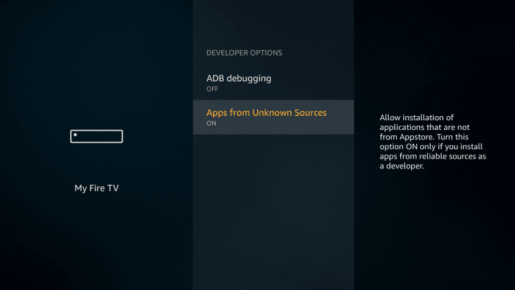 Enable Apps from unknown sources option