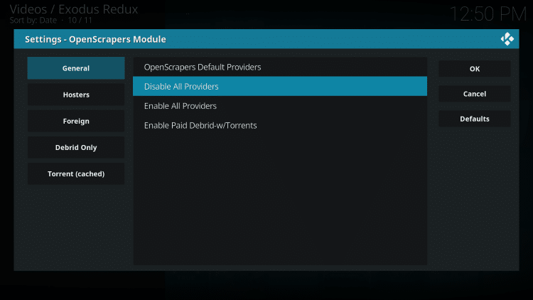 Disable All Providers