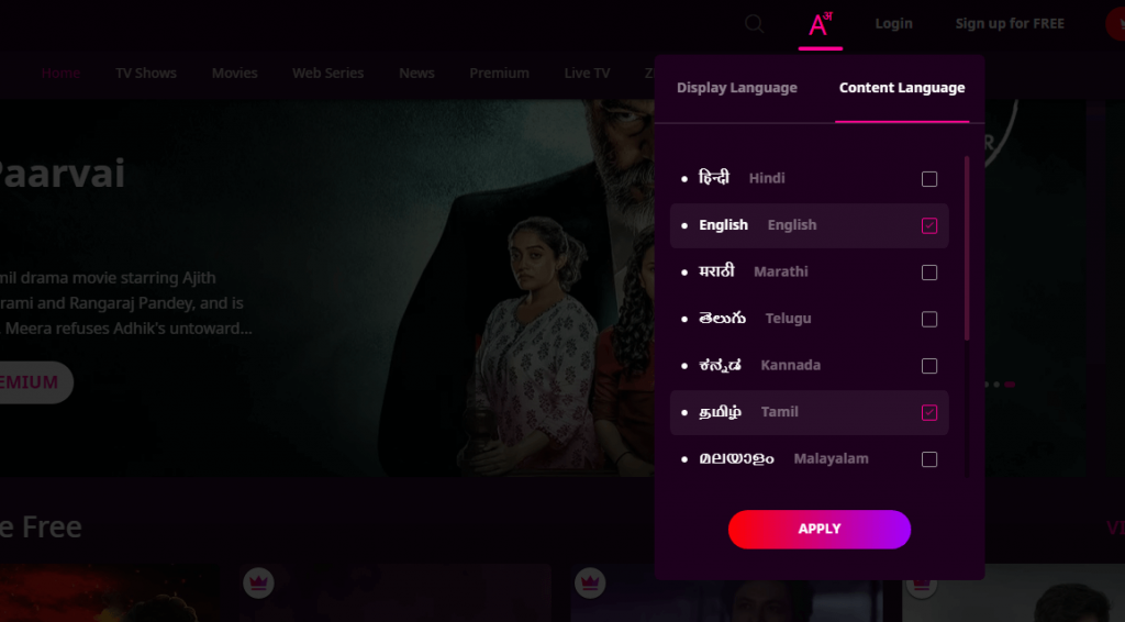select language - watch zee5 in usa