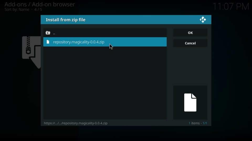 select the Magicality Kodi Addon repository