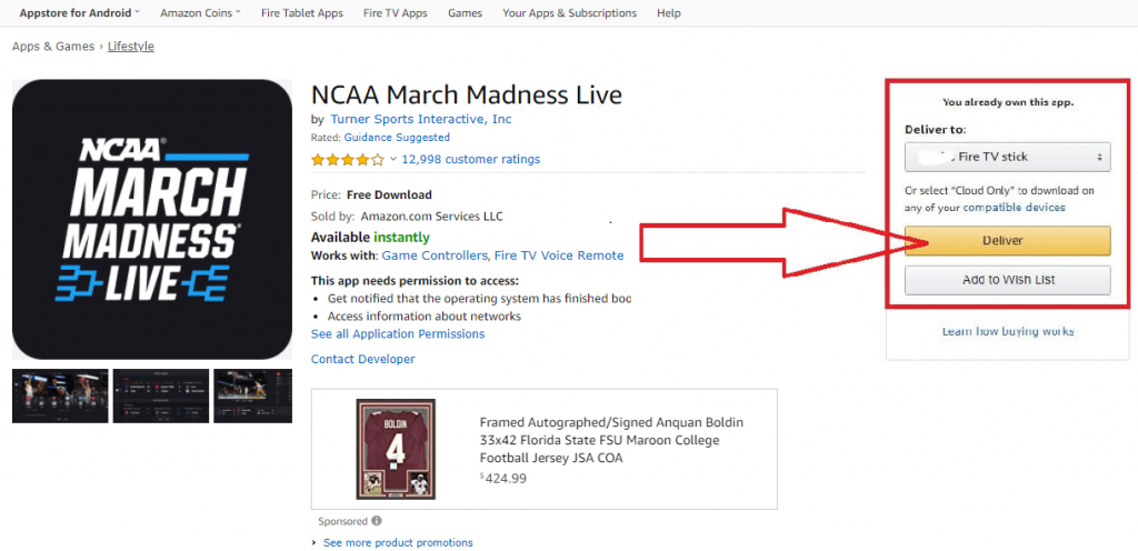 click deliver button - NCAA March Madness on Firestick