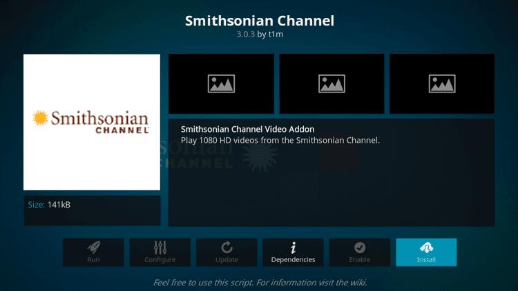 click Install - Smithsonian Channel Kodi Addon
