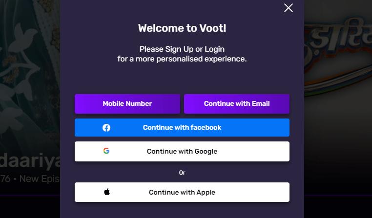 sign up for VOOT on Firestick